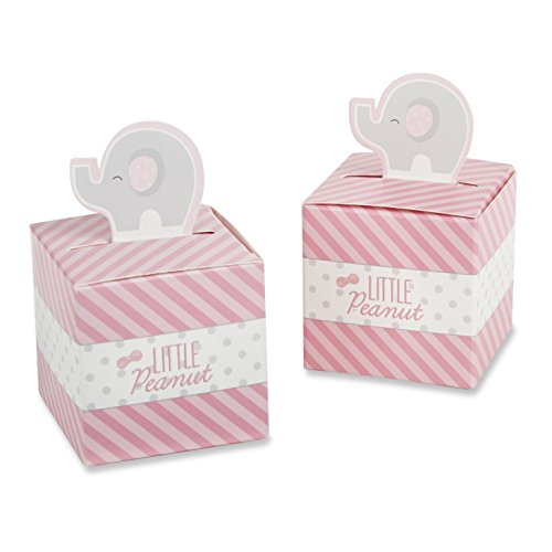 Kate Aspen Little Peanut Elephant Favor Box, Pink