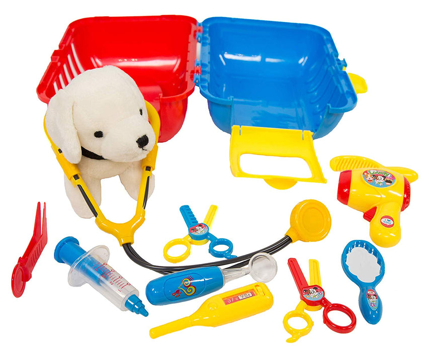 Pet Care Playset - Vet kit and grooming kit - 12 pcs