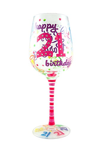 Top Shelf Happy 21st Birthday Wine Glass