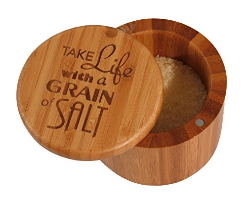 Totally Bamboo Salt Box, Take Life with a Grain of Salt, Etched Bamboo Container With Magnetic Lid For Secure Storage