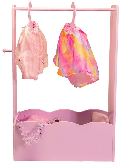 Pretend play toy dress up center with full length mirror, knob and 3 hangers - pink