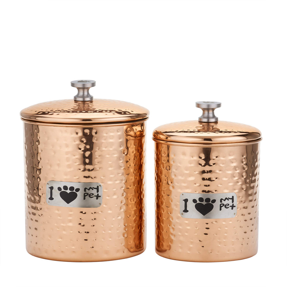 Old Dutch 1444CP 2 Pc. Copper Cat Paw Container Set 3 2 Qt. Pet Canister 6Qt