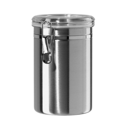 Oggi 60 -Ounce Stainless Steel Airtight Canister with Clear Arylic Lid and Locking Clamp