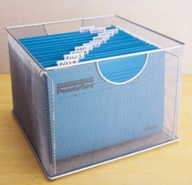 Mesh File Box - 1 - Coated Metal Silver