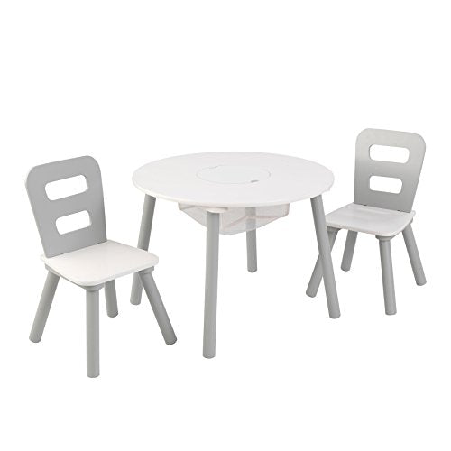 Round Table & 2 Chair Set Gray & White