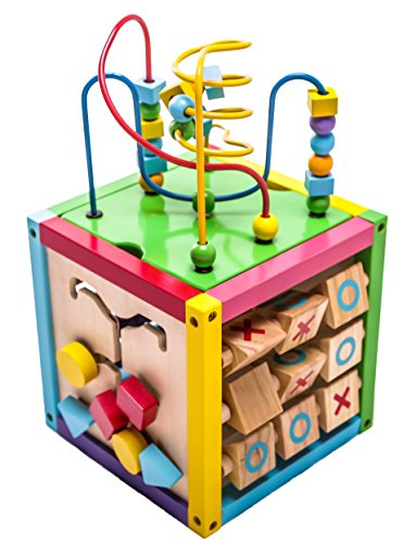 6-in-1 Play Cube Activity Center - Wood