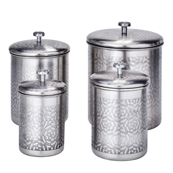 Old Dutch 1864SN 4 Pc. Brushed Nickel Geometric, 4, 3, 2, Qt Canister Set 11.5Qt Stainless Steel