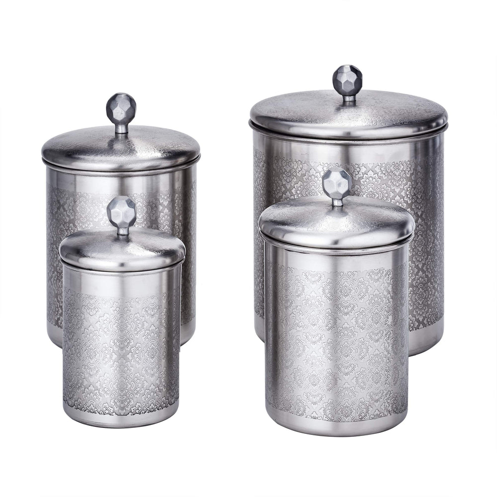 Old Dutch 1867SN 4 Pc. Brushed Nickel Floral, 4, 3, 2, Qt Canister Set 11.5Qt Stainless Steel