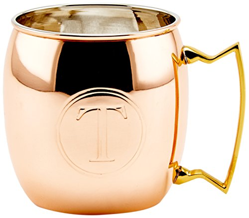 Old Dutch International Solid Moscow Mule Mug, 16-Ounce, Monogrammed T, Copper