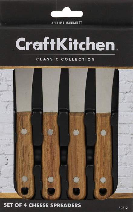 CraftKitchen Set of 4 Cheese Spreaders with Acacia Wood Handles