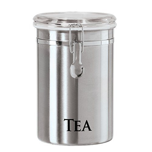 "Oggi 60-Ounce Brushed Stainless Steel ""Tea"" Airtight Canister with Acrylic Lid"