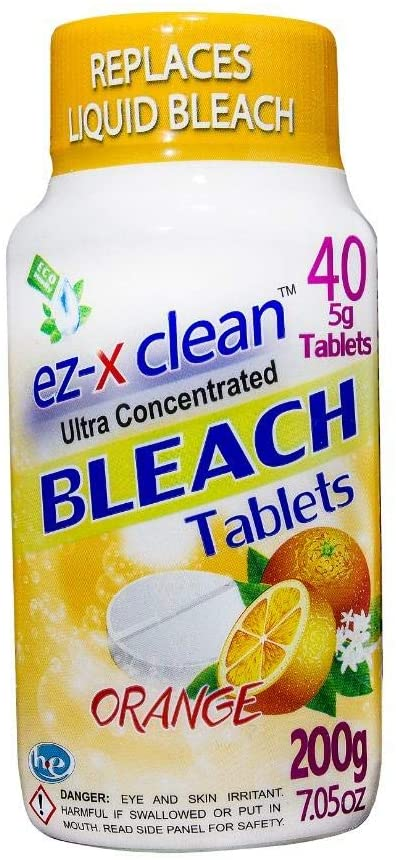 Water soluble bleach tablets for laundry and household cleaning / ORANGE- Single 7.05 oz