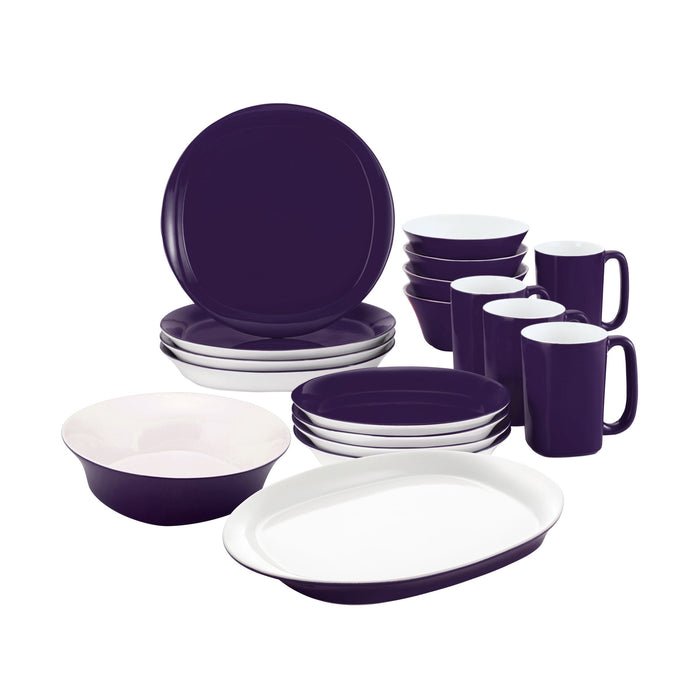 Rachael Ray Dinnerware Round & Square Collection 16-Piece Set with a Serving Bowl and Oval Platter