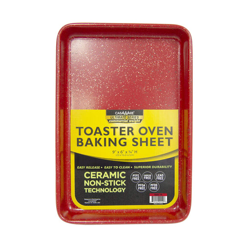 "126472 Cookie Sheet 9"" x 6"" Toaster Oven- Red"