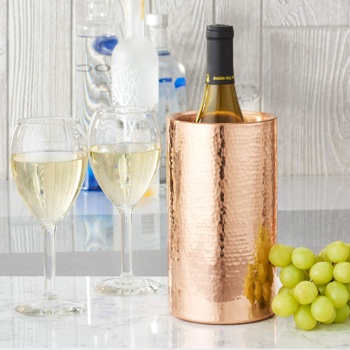 "4"" D x 8?"" H Stone Hammered Solid Copper Double Walled Wine Cooler"