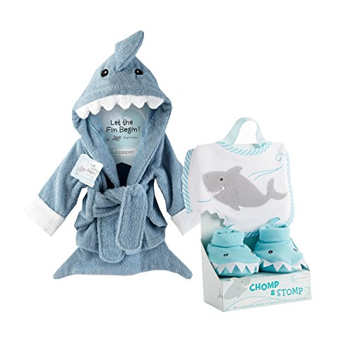 Baby Aspen Shark Gift Bundle with Shark Chomp & Stomp and Shark Robe - BLUE