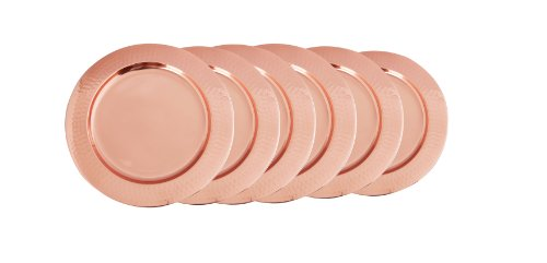 "Décor Copper Hammered Rim Charger Plates, 13"", Set of 6"