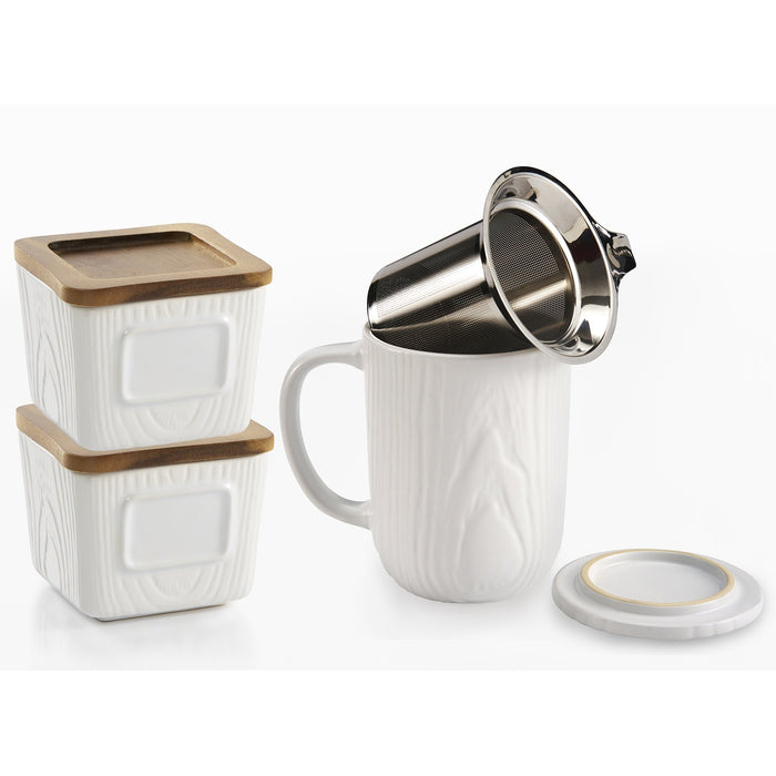 122461 Canister/Tea Mug 3pc Set Woodgr