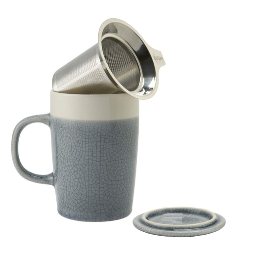 16 oz Tea Infuser Mug Crackle Gl- Gray