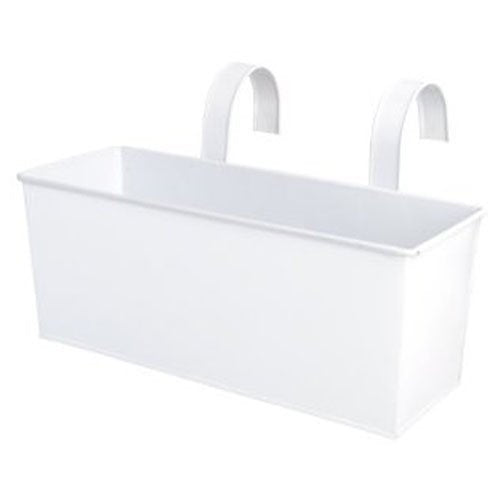 Esschert Design USA White Metal Rectangular Balcony Planter