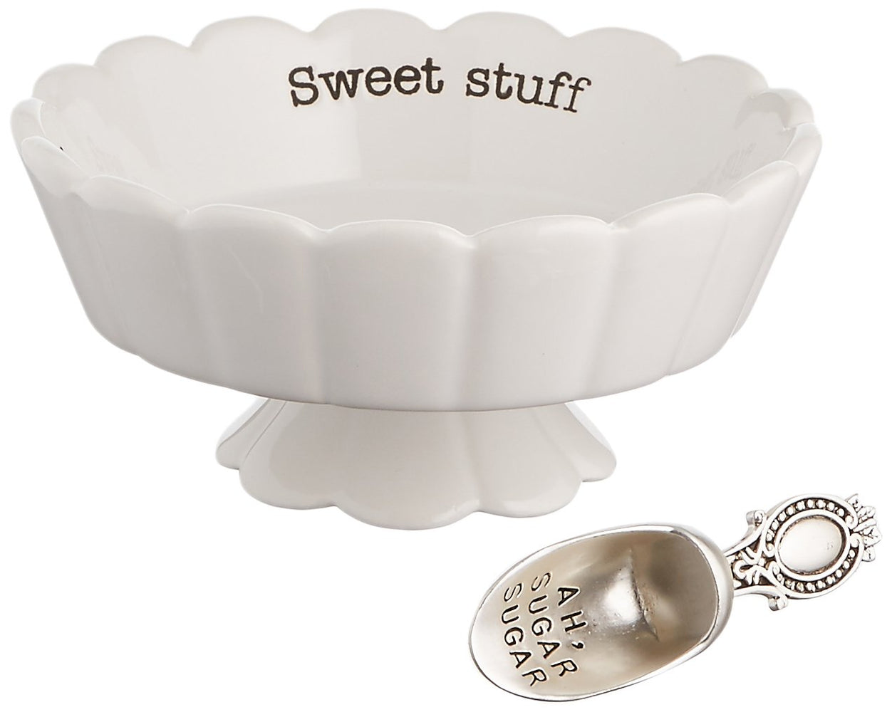 Mud Pie 4881012S Candy Dish Set Sweet Stuff, White