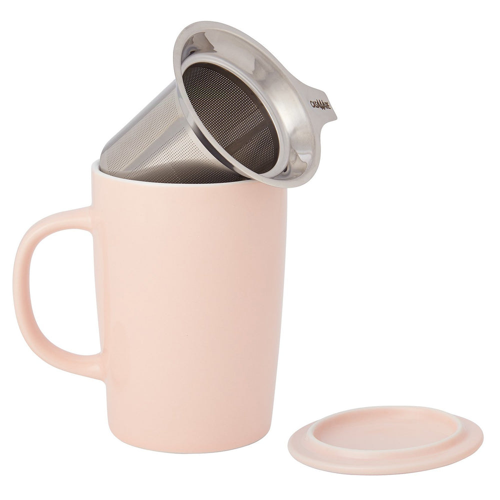 121879 16 oz Tea Infuser Mug Spring Pink