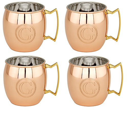 "S/4 16 Oz. Solid Copper Monogrammed ""G"" Moscow Mule Mug (L,NL,CBH)"