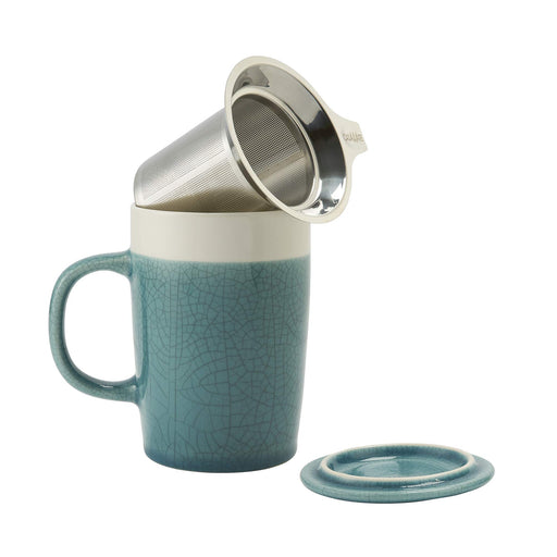 16 oz Tea Infuser Mug Crackle Gl- Turquoise