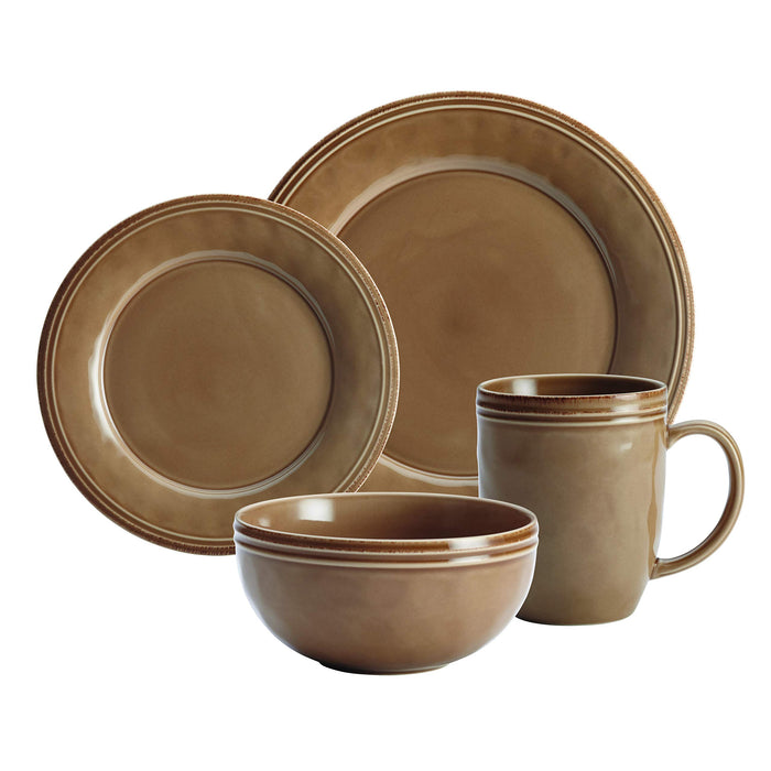 Rachael Ray Cucina One place setting: Mushroom Brown: 1 each plate, salad plate, bowl and cup