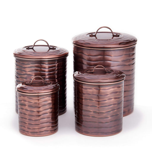 "4 Pc. Antique Copper ""Wave"" Canister Set, 4 Qt, 2 Qt, 1 Qt, 1 Qt."