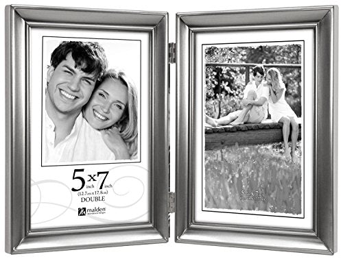 Malden Concourse Pewter Metal Frame with 2-Vertical Openings 5 by 7-Inch