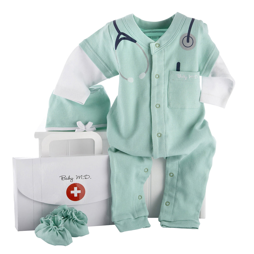 Baby Aspen Big Dreamzzz Baby M.D. Layette Set with Gift Box Green 0-6 Months