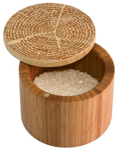 Totally Bamboo Salt Box, Tree of Life, Etched Bamboo Container With Magnetic Lid For Secure Storage