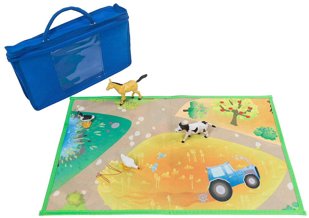 Kids double sided felt play mat - 2 in 1 city & farm with 4 animals