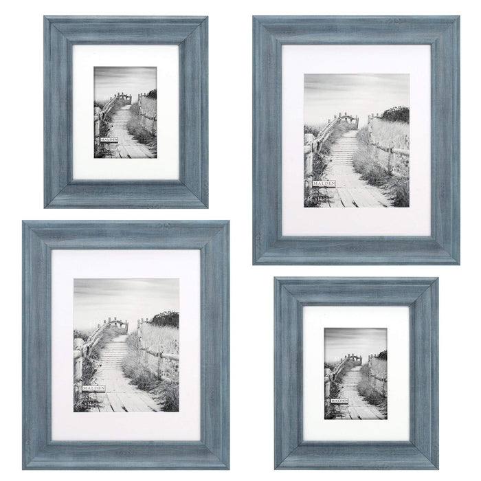Malden Blue Matted Wall Frame 4-Piece Set 2pcs 2410-80 & 2 pcs. 2410-57