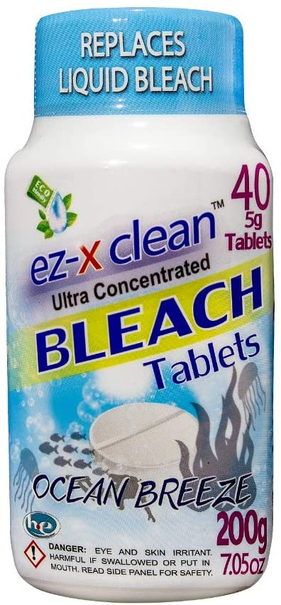 Water soluble bleach tablets for laundry and household cleaning / OCEAN BREEZE- Single 7.05 oz