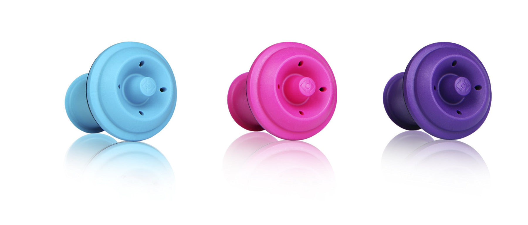 Wine Saver Vacuum Stoppers, Set of 6 - Purple / Blue / Pink