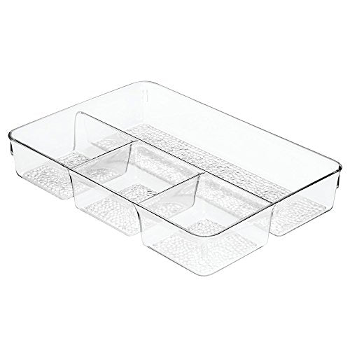 InterDesign Rain Cosmetic Drawer Organizer Tray for Vanity Cabinet to Hold Makeup, Beauty Products - Clear