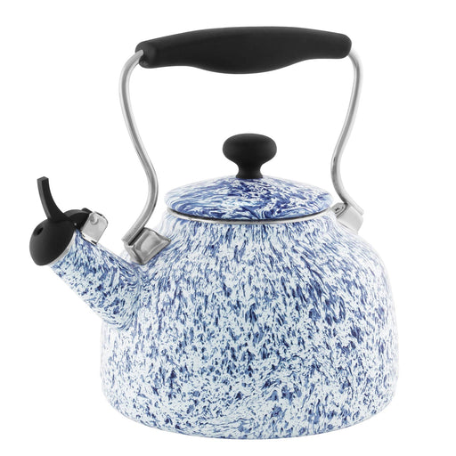 1.7 Qt Enamel-on-Steel Vintage Teakettle Blue Spatter