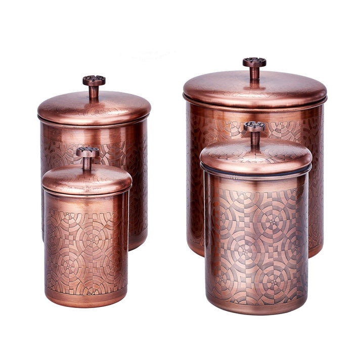 Old Dutch 1864AC 4 Pc. Antique Copper Geometric, 4, 3, 2, Qt Canister Set, 11.5Qt
