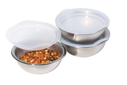 Oggi 3-Inch Diameter Stainless Steel Pinch Bowls with Airtight Lids Set of 3