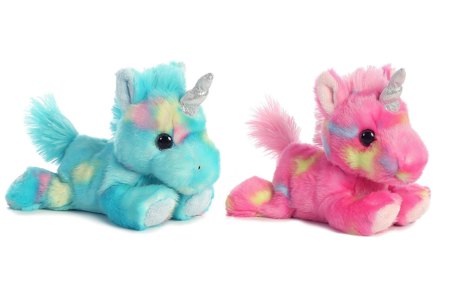 Bundle of 2 Aurora Stuffed Beanbag Animals - Blueberry Ripple Unicorn & Jellyroll Unicorn items 16700 & 16701