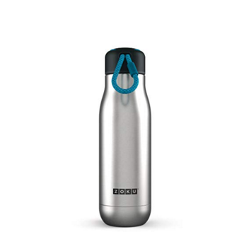 Zoku Stainless Steel Water Bottle 18-Ounce; Brushed Stainless Steel
