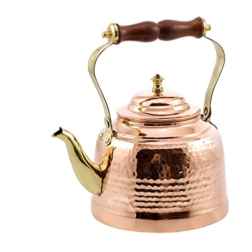 Old Dutch Hammered Tea Kettle with Brass Spout and Knob and Wooden Handle, 2 qt., Copper