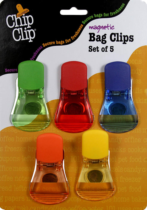 CHIP CLIP SET OF 5 MAGNETIC TRANSLUCENT CLIPS