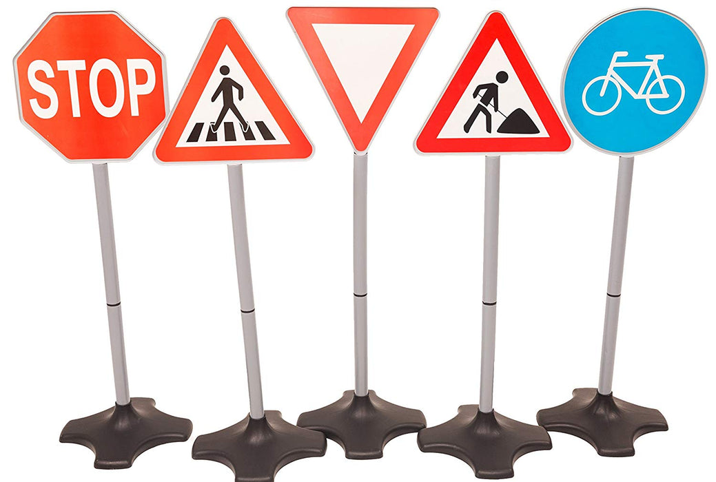 MMP Living Road Signs - Set of 5: Stop, Yield, Crosswalk, Construction, Bicycle, Over 2 feet Tall