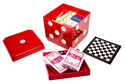 6-IN-1 Game Cube - chess, checkers, backgammon, poker, dominoes, playing cards - Red