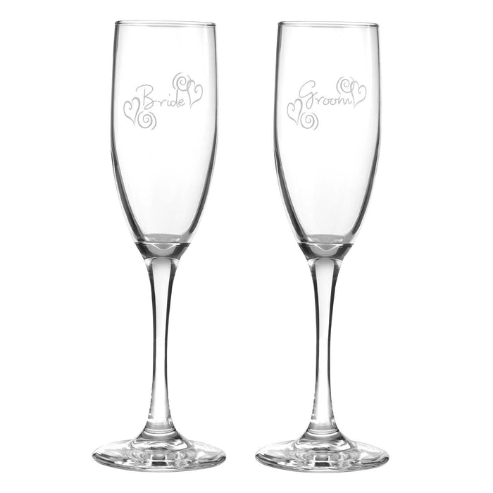 Hortense B. Hewitt Wedding Accessories Swirl Heart Bride and Groom Champagne Toasting Flutes