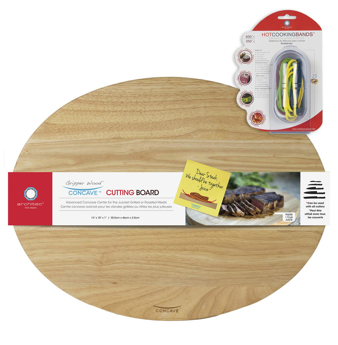 Architec Gripperwood Oval Concave Cutting Board and Stretch Cooking Bands 2 Piece Set