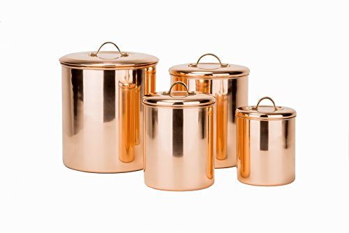 4 Pc. Polished Copper Canister Set w/Brass knobs, 4qt, 2qt, 1 qt, 1 qt